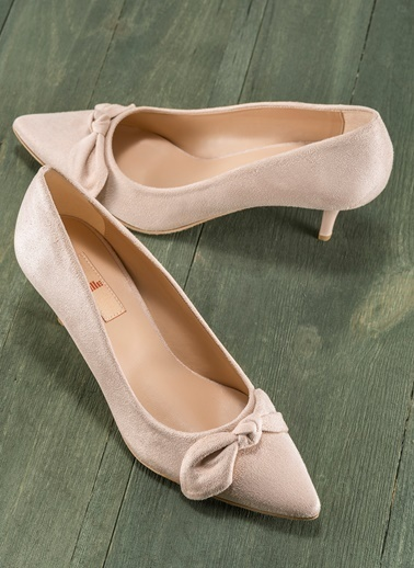 Elle İnce Topuklu Sivri Burun Ayakkabı Ten